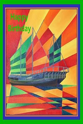 Cartoons Tees - Happy Birthday Sail Away Junk Pleasure Boat by Taiche Acrylic Art