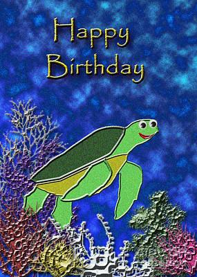 Wildlife Celebration Mixed Media - Happy Birthday Sea Turtle by Jeanette K