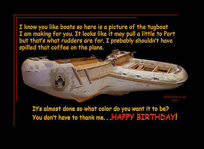 Photograph - Happy Birthday Tugboat Greeting Card by Michael Shone SR