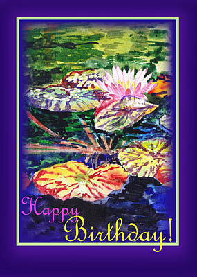 Lilies Royalty-Free and Rights-Managed Images - Happy Birthday Water Lilies  by Irina Sztukowski