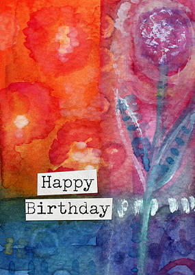 Royalty-Free and Rights-Managed Images - Happy Birthday- watercolor floral card by Linda Woods