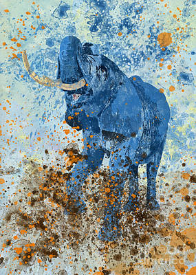 Mixed Media - Happy Blue Elephant by Olga Hamilton