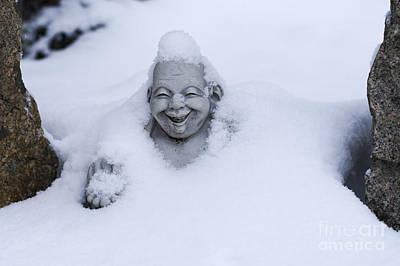 Photograph - Happy Buddha In Snow by Steven Ralser