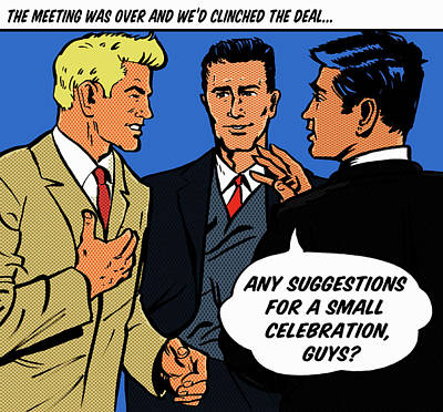 Happy Businessmen With Speech Bubble Art Print