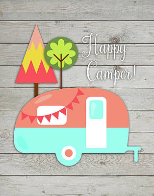Trailer Painting - Happy Camper II by Tamara Robinson