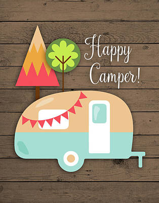 Trailer Painting - Happy Camper by Tamara Robinson