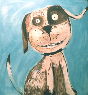 Dog Caricature Painting - Happy Chappy's Dog by Melodie Thompson