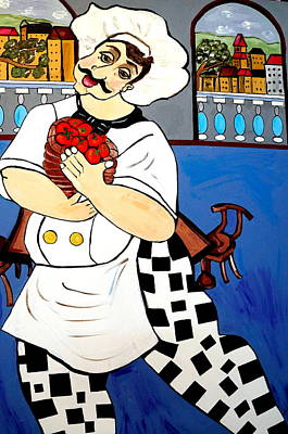 Art Print featuring the painting Chef  Happy Chef by Nora Shepley
