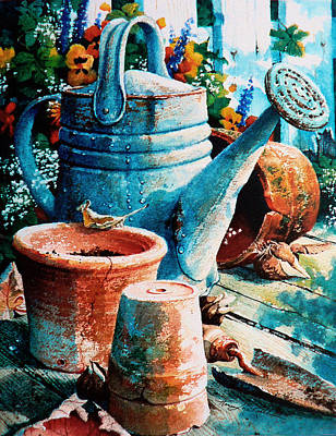 Planting Flowers Painting - Happy Chores by Hanne Lore Koehler