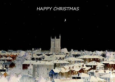 Church Photograph - Happy Christmas Card by Bishopston Fine Art
