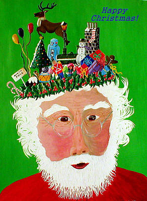 Painting - Happy Christmas Santa by Sandy Wager