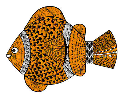 Clown Fish Drawing - Happy Clown Fish by Ginger Sanders