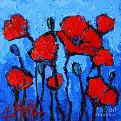 Nature Abstract Painting - Happy Coquelicots by Mona Edulesco