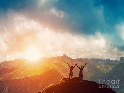 Win Photograph - Happy Couple On The Peak Of The Mountain by Michal Bednarek