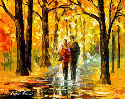 Happy Couple - Palette Knife Oil Painting On Canvas By Leonid Afremov Original by Leonid Afremov