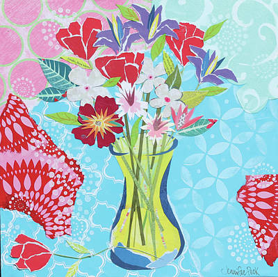 Mixed Media Florals Painting - Happy Day Bouquet by Jennifer Peck