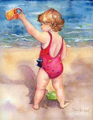Little Girl On Beach Painting - Happy Day by Maria's Watercolor