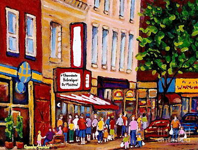 Painting - Happy Days Montreal Memories Standing In Line At Charcuterie Schwartz Main Street Montreal Painting by Carole Spandau