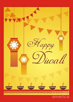Happy Diwali English Art Print by Prajakta P