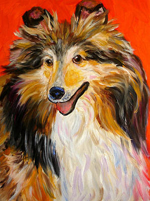 Painting - Happy Dog  --  Sheltie by Mary Jo Zorad