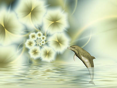 Happy Dolphin In A Surreal World Art Print