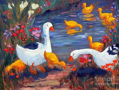 Flower Painting - Happy Ducks by Marietjie Du Toit
