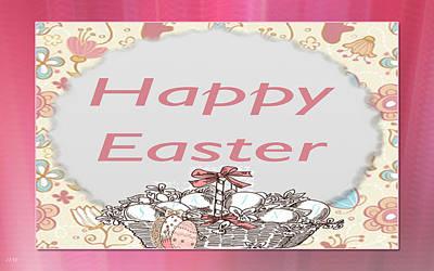 Happy Easter Basket Art Print by Debra     Vatalaro
