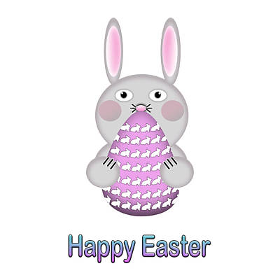 Digital Art - Happy Easter Bunny Rabbit With Easter Egg by Shelley Neff