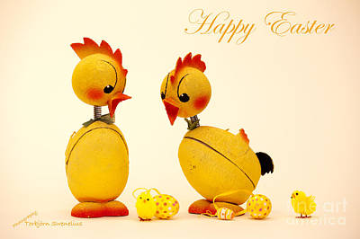 Happy Easter Chickens Art Print by Torbjorn Swenelius