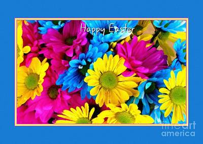 Digital Art - Happy Easter Colorful Daisies by JH Designs