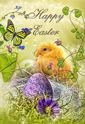 Chicken Digital Art - Happy Easter by Mo T