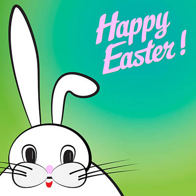 Easter Celebration Drawing - Happy Easter Rabbit by Alain De Maximy