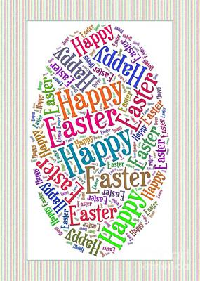 Digital Art - Happy Easter Word Collage by JH Designs