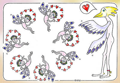 Juggling Drawing - Happy Elves by Hartmut Jager