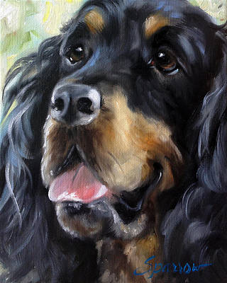 Gordon Setter Painting - Happy Face by Mary Sparrow