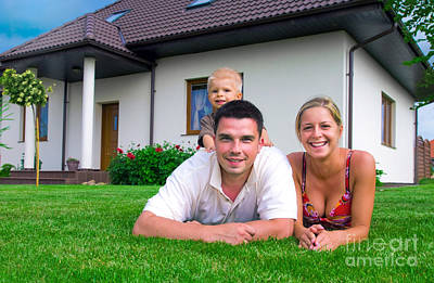 Time Photograph - Happy Family And House by Michal Bednarek