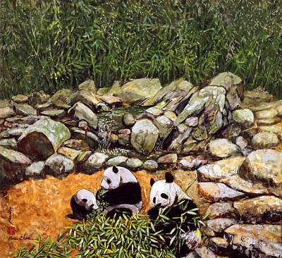Bamboo Painting - Happy Family Pandas by Komi Chen