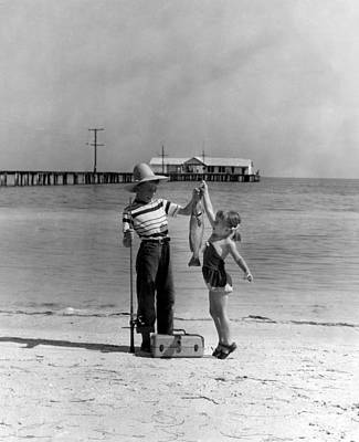 Boy And Girl Photograph - Happy Fishing by Retro Images Archive