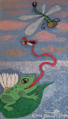 Happy Frog Art Print by Yvonne  Kroupa