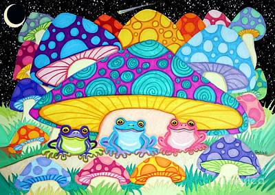 Frogs Drawing - Happy Frogs In The Starlight  by Nick Gustafson
