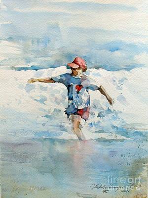 Ocean Painting - Happy Girl by Natalia Eremeyeva Duarte