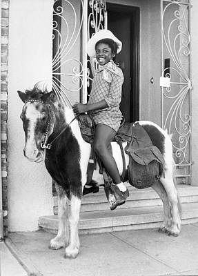 Cowboy Hat Photograph - Happy Girl On A Pony by Underwood Archives