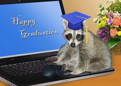 Diploma Digital Art - Happy Graduation Raccoon by Jeanette K