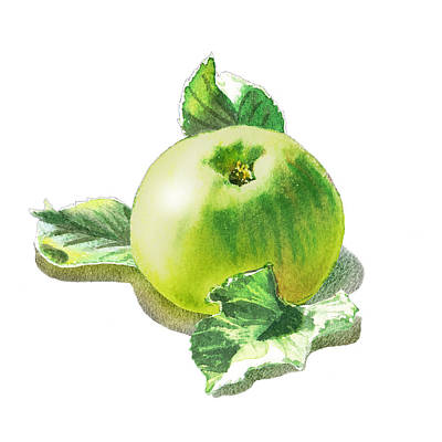 Happy Green Apple Art Print by Irina Sztukowski