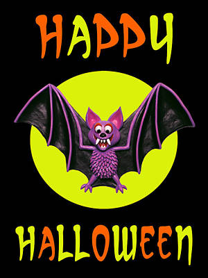Bat Mixed Media - Happy Halloween Bat by Amy Vangsgard