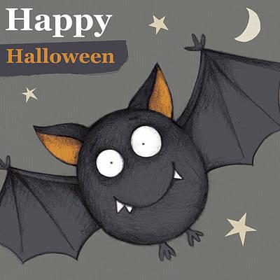 Halloween Sign Painting - Happy Halloween Bat by P.s. Art Studios