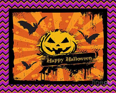 Happy Halloween-chevron Pumpkin Original