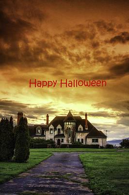 Happy Halloween Fiery Castle Art Print by Eti Reid
