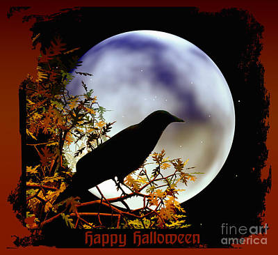 Happy Halloween Moon And Crow Art Print