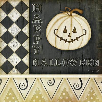 Pumpkins Painting - Happy Halloween Pumpkin by Jennifer Pugh